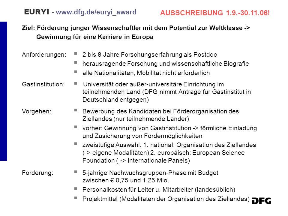 EURYI - www.dfg.de/euryi_award Ziel: Förderung junger Wissenschaftler mit dem Potential zur Weltklasse -> Gewinnung für eine Karriere in Europa Anford