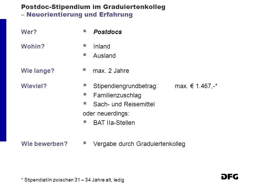 Postdoc-Stipendium im Graduiertenkolleg – Neuorientierung und Erfahrung Wer? Postdocs Wohin? Inland Ausland Wie lange? max. 2 Jahre Wieviel? Stipendie