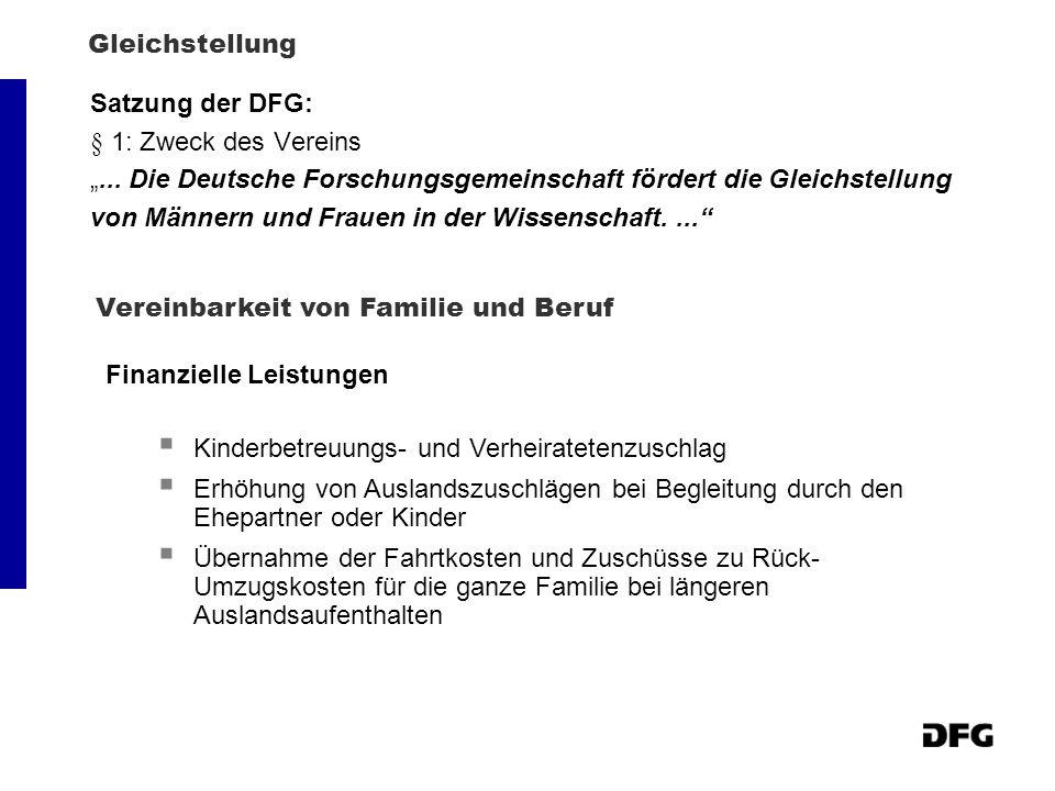 Gleichstellung Satzung der DFG: § 1: Zweck des Vereins... Die Deutsche Forschungsgemeinschaft fördert die Gleichstellung von Männern und Frauen in der