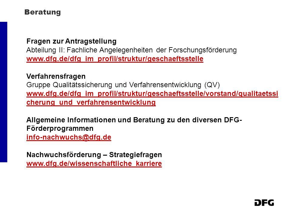 Fragen zur Antragstellung Abteilung II: Fachliche Angelegenheiten der Forschungsförderung www.dfg.de/dfg_im_profil/struktur/geschaeftsstelle Verfahren