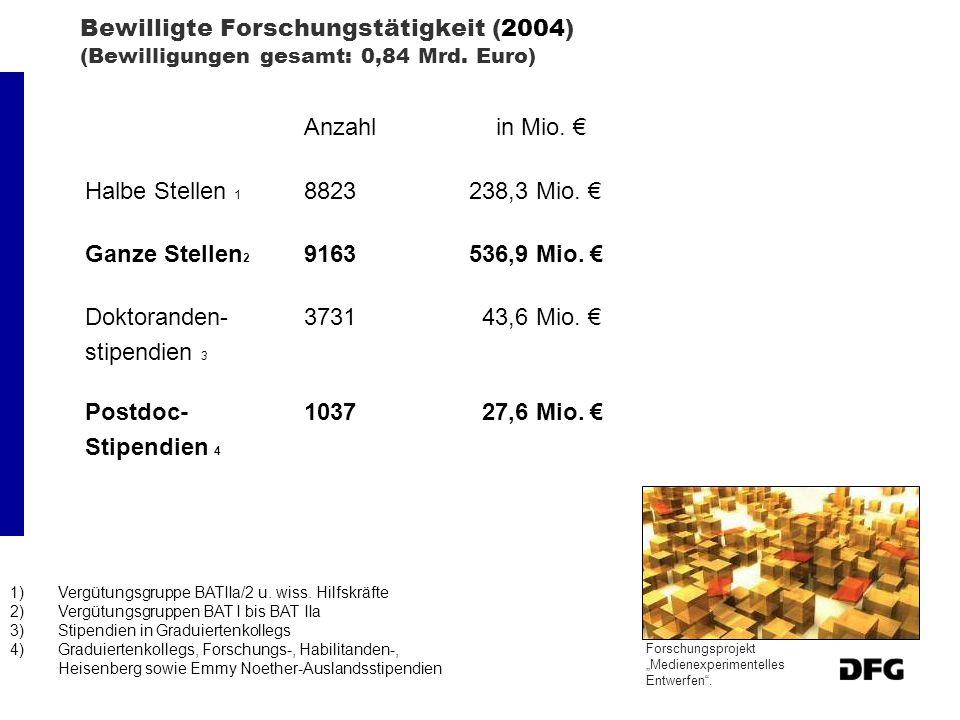 Bewilligte Forschungstätigkeit (2004) (Bewilligungen gesamt: 0,84 Mrd. Euro) Anzahl in Mio. Halbe Stellen 1 8823238,3 Mio. Ganze Stellen 2 9163536,9 M
