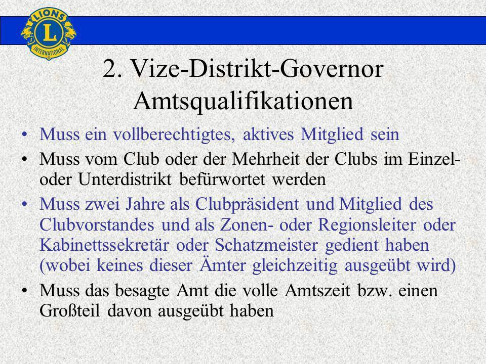 2. Vize-Distrikt-Governor Amtsqualifikationen Muss ein vollberechtigtes, aktives Mitglied sein Muss vom Club oder der Mehrheit der Clubs im Einzel- od