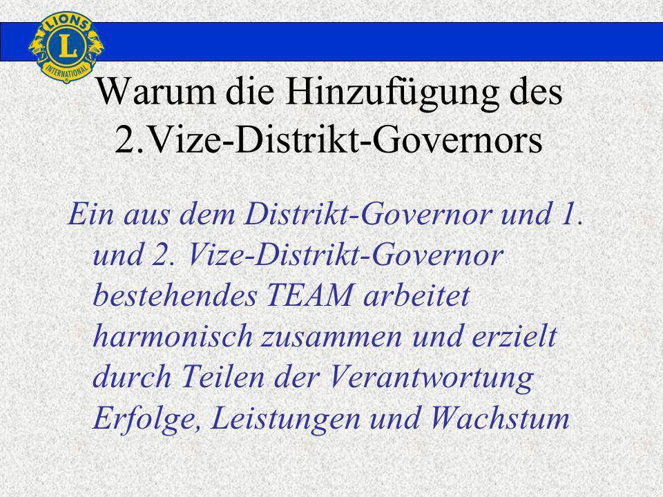 Warum die Hinzufügung des 2.Vize-Distrikt-Governors Ein aus dem Distrikt-Governor und 1. und 2. Vize-Distrikt-Governor bestehendes TEAM arbeitet harmo