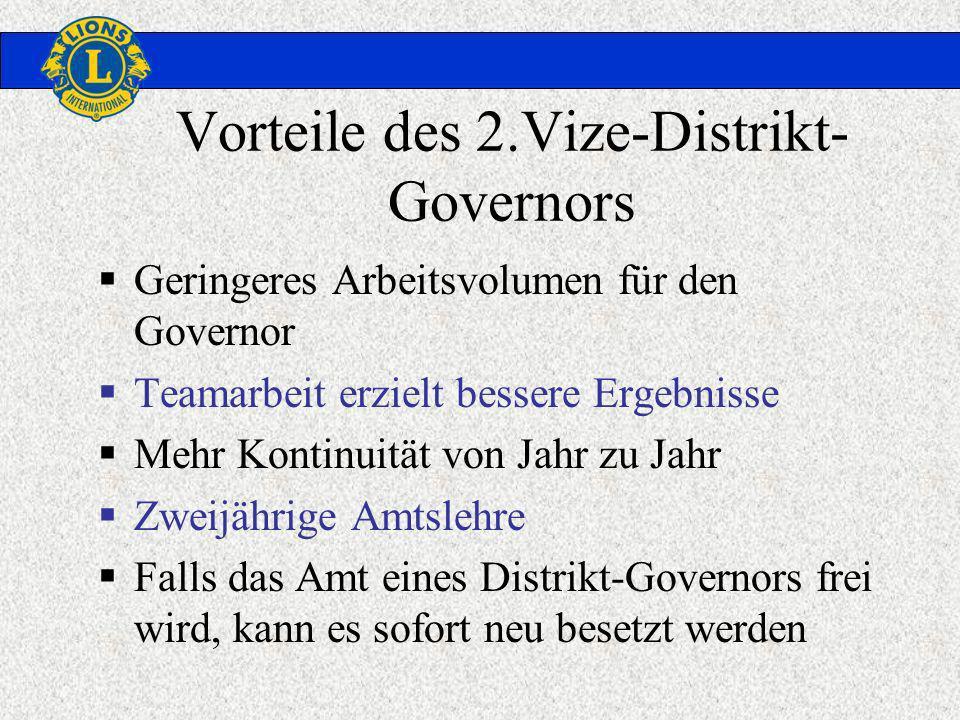 Vorteile des 2.Vize-Distrikt- Governors Geringeres Arbeitsvolumen für den Governor Teamarbeit erzielt bessere Ergebnisse Mehr Kontinuität von Jahr zu