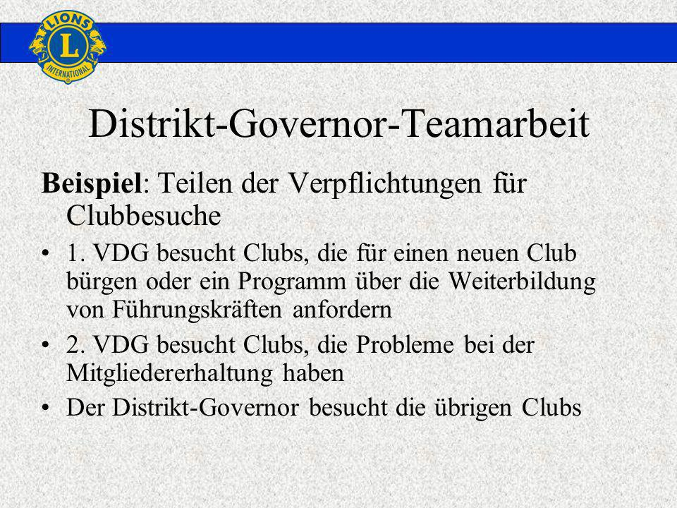 Distrikt-Governor-Teamarbeit Beispiel: Teilen der Verpflichtungen für Clubbesuche 1. VDG besucht Clubs, die für einen neuen Club bürgen oder ein Progr