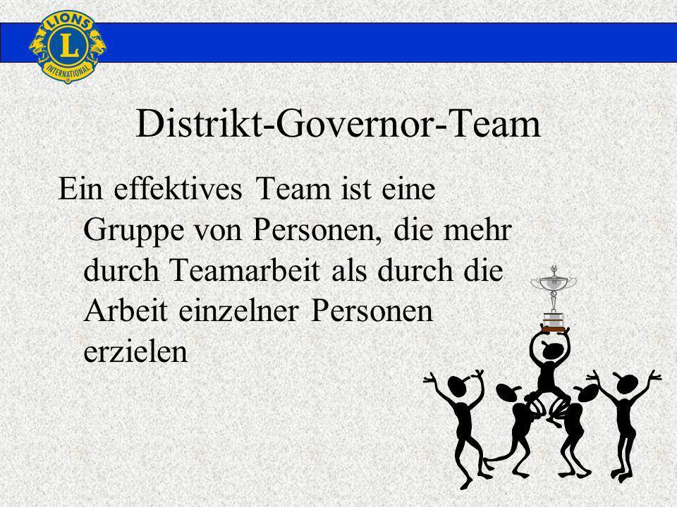 Distrikt-Governor-Team Ein effektives Team ist eine Gruppe von Personen, die mehr durch Teamarbeit als durch die Arbeit einzelner Personen erzielen