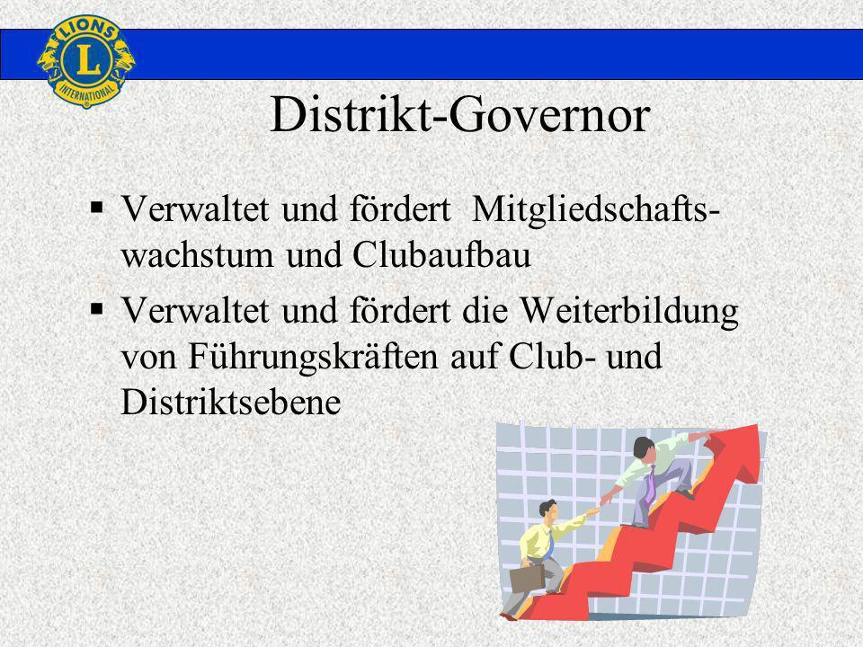 Distrikt-Governor Verwaltet und fördert Mitgliedschafts- wachstum und Clubaufbau Verwaltet und fördert die Weiterbildung von Führungskräften auf Club- und Distriktsebene