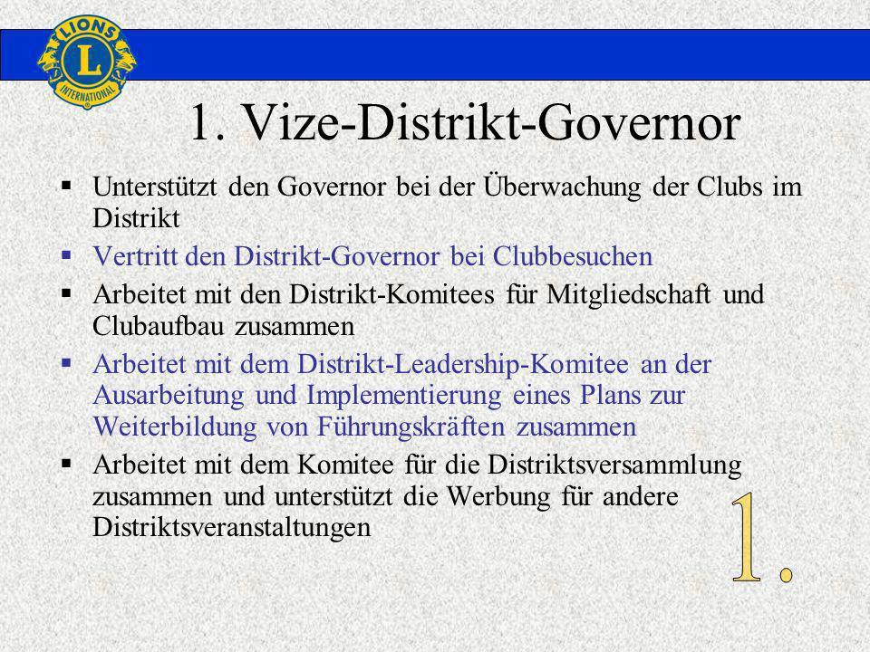 1. Vize-Distrikt-Governor Unterstützt den Governor bei der Überwachung der Clubs im Distrikt Vertritt den Distrikt-Governor bei Clubbesuchen Arbeitet