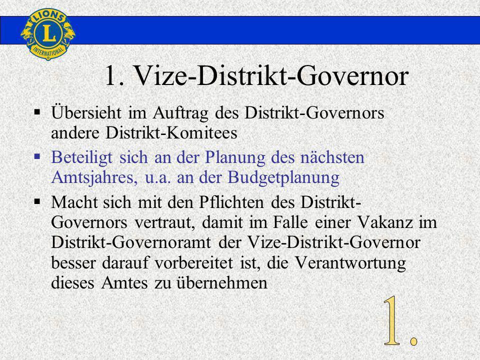 1. Vize-Distrikt-Governor Übersieht im Auftrag des Distrikt-Governors andere Distrikt-Komitees Beteiligt sich an der Planung des nächsten Amtsjahres,