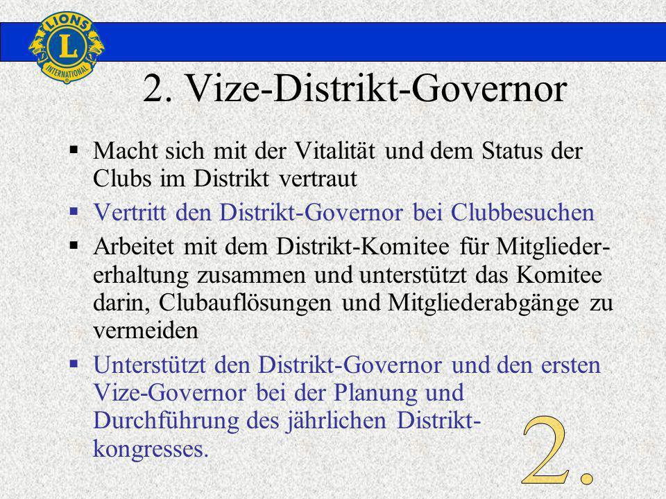 2. Vize-Distrikt-Governor Macht sich mit der Vitalität und dem Status der Clubs im Distrikt vertraut Vertritt den Distrikt-Governor bei Clubbesuchen A