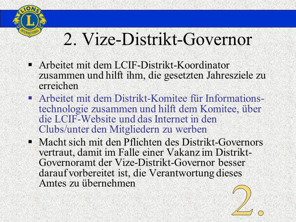 2. Vize-Distrikt-Governor Arbeitet mit dem LCIF-Distrikt-Koordinator zusammen und hilft ihm, die gesetzten Jahresziele zu erreichen Arbeitet mit dem D