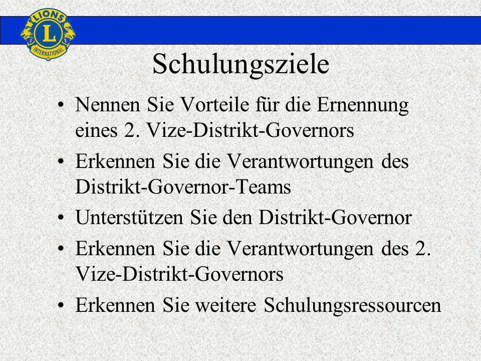 Schulungsziele Nennen Sie Vorteile für die Ernennung eines 2. Vize-Distrikt-Governors Erkennen Sie die Verantwortungen des Distrikt-Governor-Teams Unt