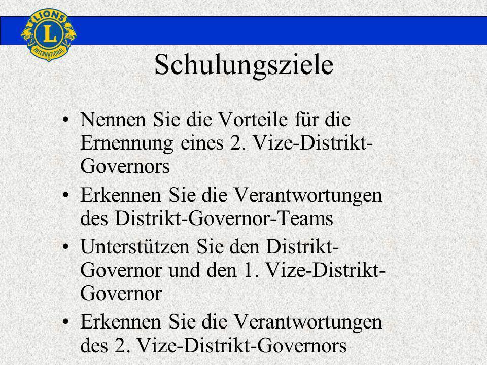 Schulungsziele Nennen Sie die Vorteile für die Ernennung eines 2. Vize-Distrikt- Governors Erkennen Sie die Verantwortungen des Distrikt-Governor-Team