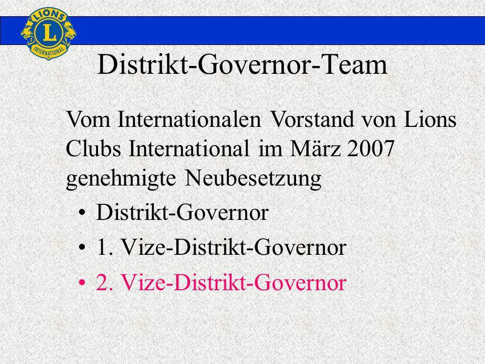 Distrikt-Governor-Team Distrikt-Governor 1. Vize-Distrikt-Governor 2. Vize-Distrikt-Governor Vom Internationalen Vorstand von Lions Clubs Internationa