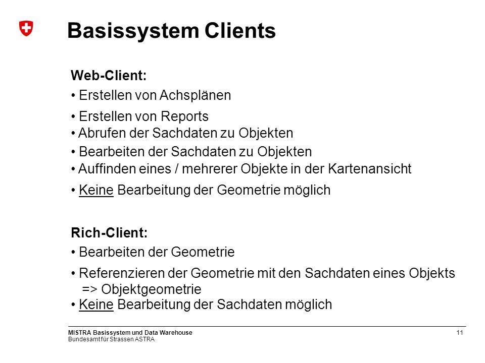 Bundesamt für Strassen ASTRA MISTRA Basissystem und Data Warehouse11 Basissystem Clients Web-Client: Keine Bearbeitung der Geometrie möglich Abrufen d