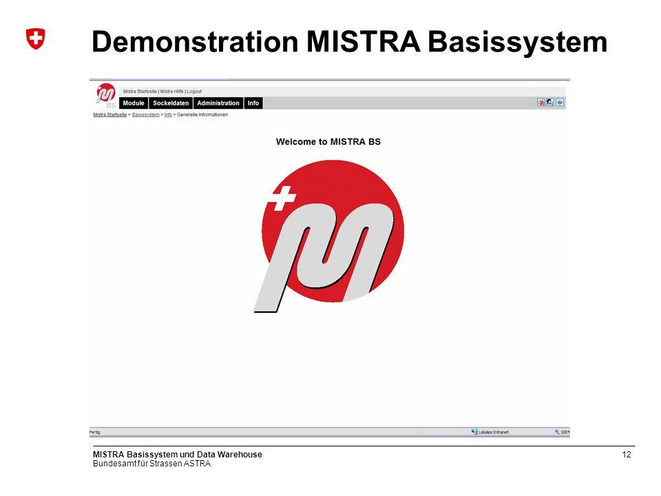 Bundesamt für Strassen ASTRA MISTRA Basissystem und Data Warehouse12 Demonstration MISTRA Basissystem