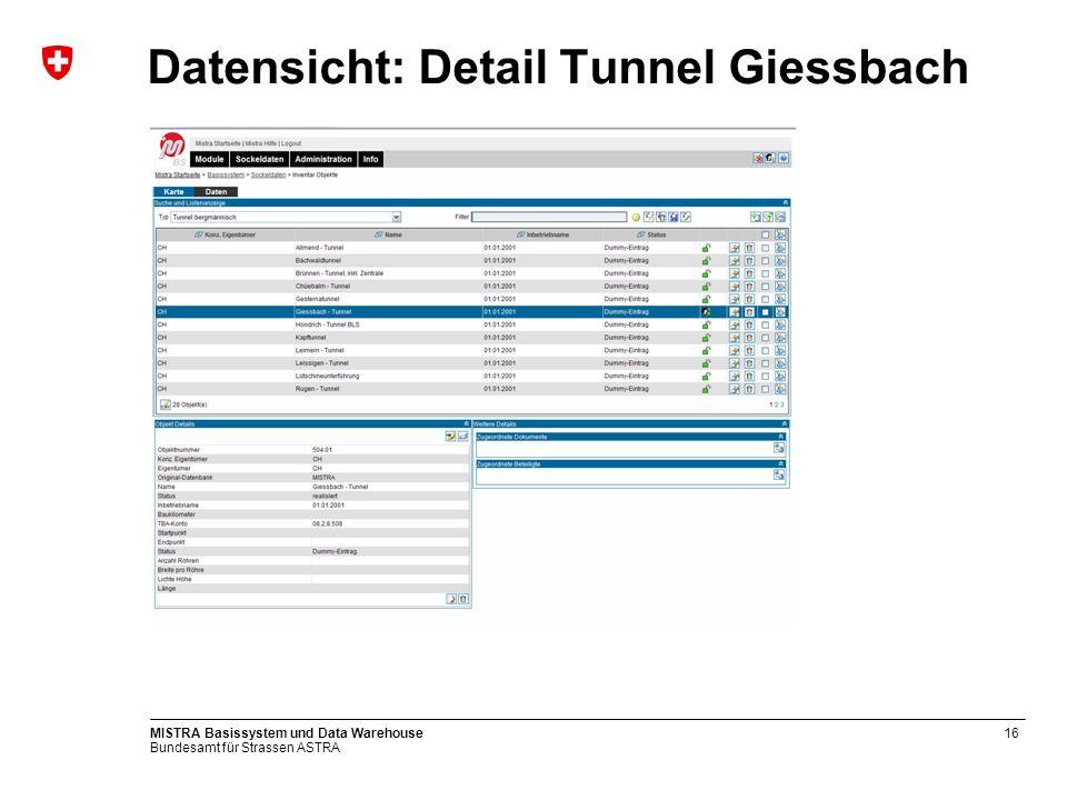 Bundesamt für Strassen ASTRA MISTRA Basissystem und Data Warehouse16 Datensicht: Detail Tunnel Giessbach