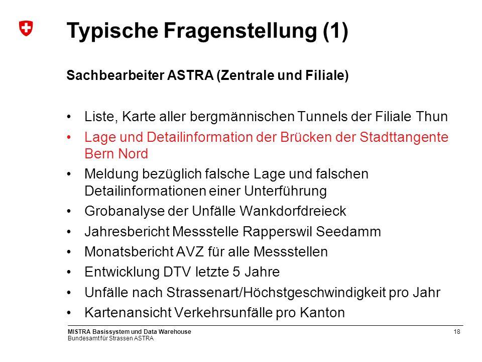 Bundesamt für Strassen ASTRA MISTRA Basissystem und Data Warehouse18 Sachbearbeiter ASTRA (Zentrale und Filiale) Liste, Karte aller bergmännischen Tun