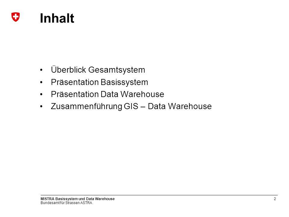 Bundesamt für Strassen ASTRA MISTRA Basissystem und Data Warehouse2 Inhalt Überblick Gesamtsystem Präsentation Basissystem Präsentation Data Warehouse