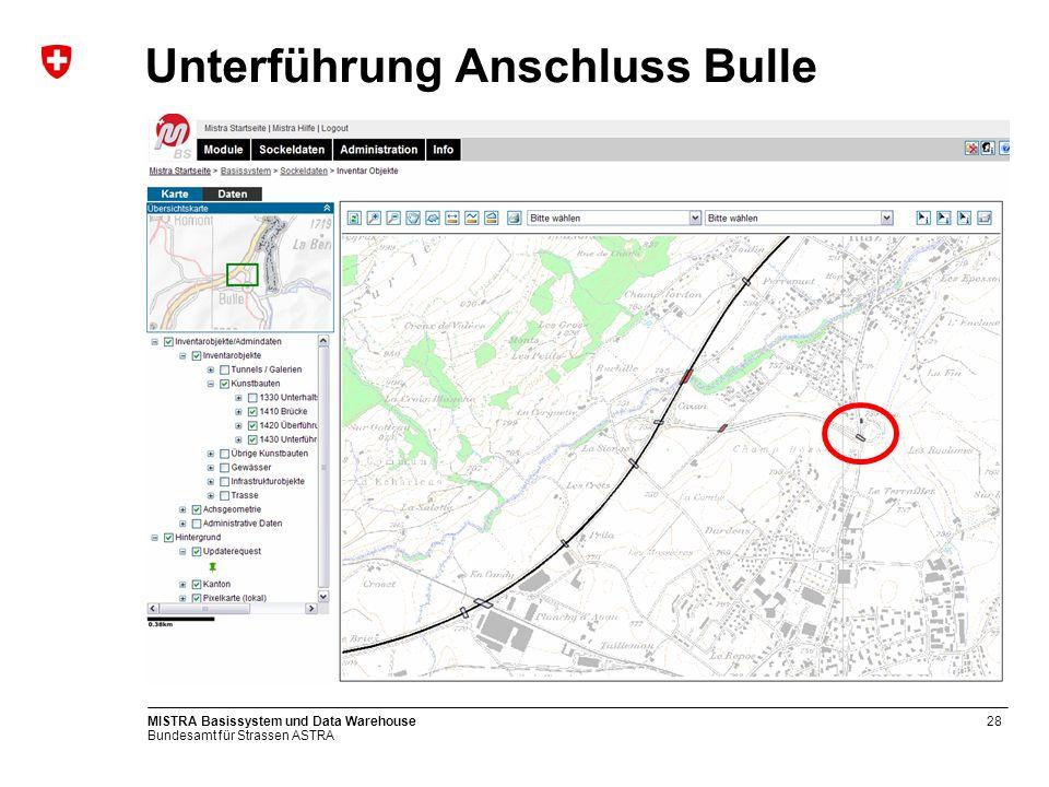 Bundesamt für Strassen ASTRA MISTRA Basissystem und Data Warehouse28 Unterführung Anschluss Bulle