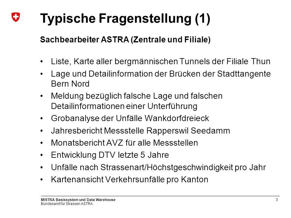 Bundesamt für Strassen ASTRA MISTRA Basissystem und Data Warehouse3 Sachbearbeiter ASTRA (Zentrale und Filiale) Liste, Karte aller bergmännischen Tunn