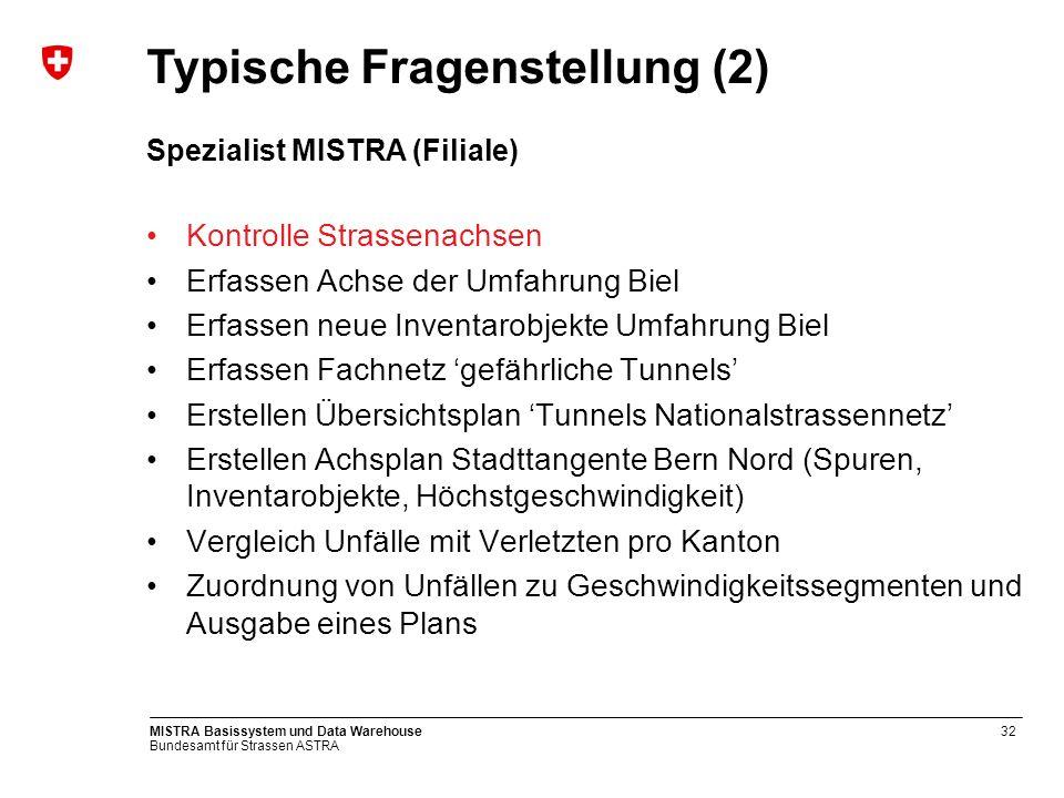 Bundesamt für Strassen ASTRA MISTRA Basissystem und Data Warehouse32 Spezialist MISTRA (Filiale) Kontrolle Strassenachsen Erfassen Achse der Umfahrung