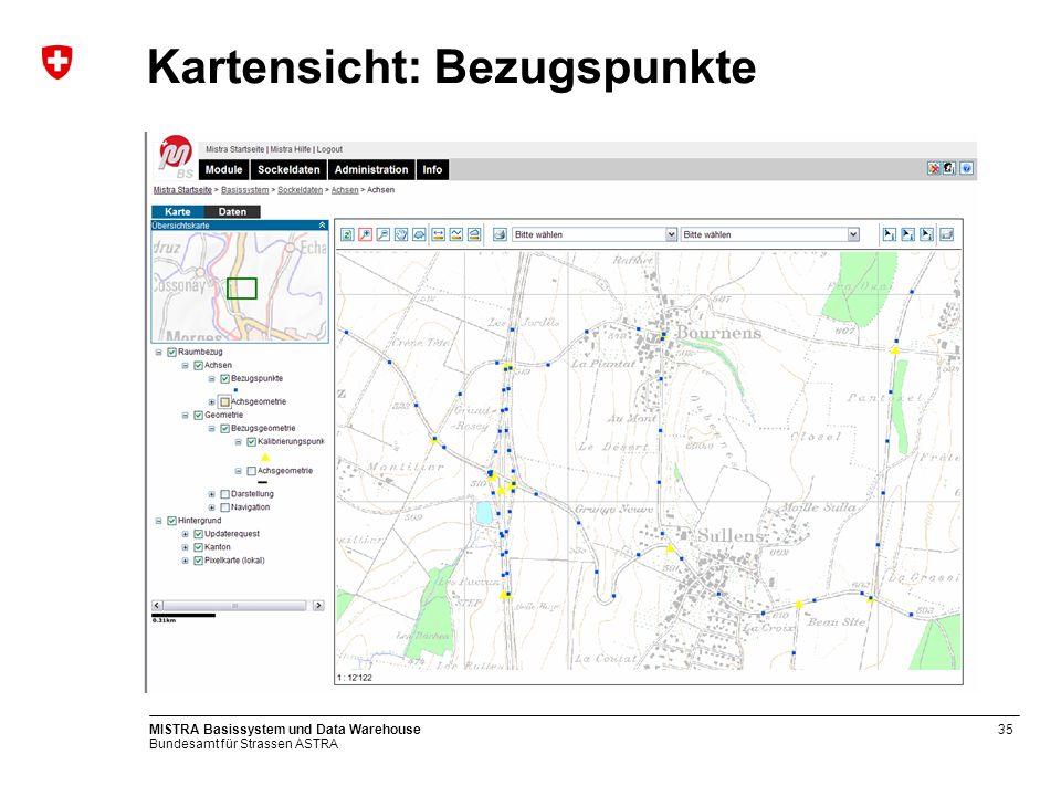 Bundesamt für Strassen ASTRA MISTRA Basissystem und Data Warehouse35 Kartensicht: Bezugspunkte
