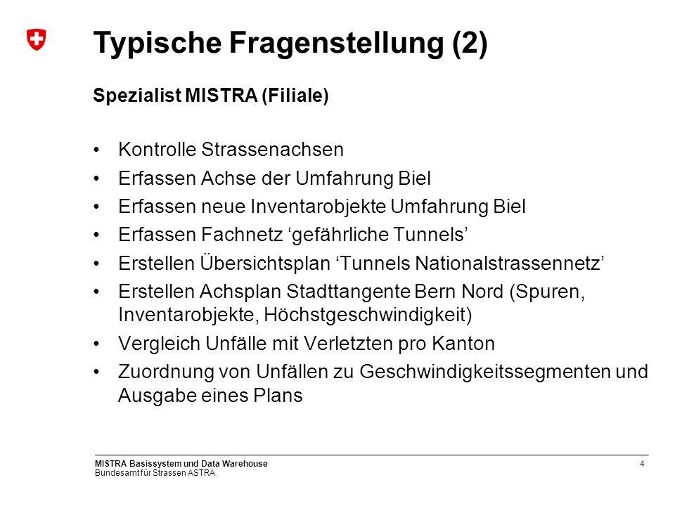 Bundesamt für Strassen ASTRA MISTRA Basissystem und Data Warehouse4 Spezialist MISTRA (Filiale) Kontrolle Strassenachsen Erfassen Achse der Umfahrung