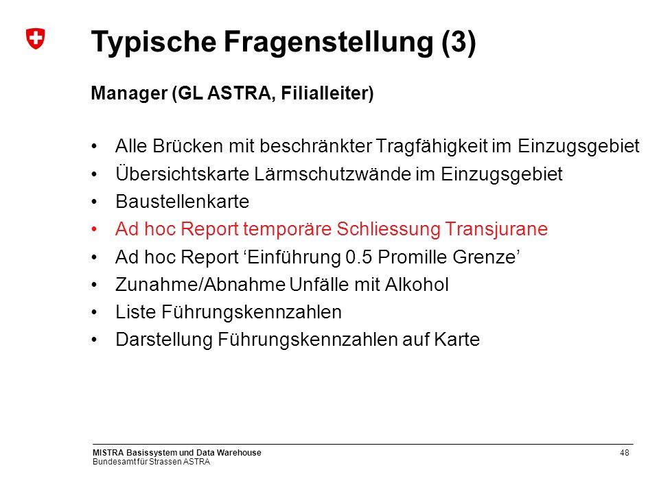 Bundesamt für Strassen ASTRA MISTRA Basissystem und Data Warehouse48 Manager (GL ASTRA, Filialleiter) Alle Brücken mit beschränkter Tragfähigkeit im E