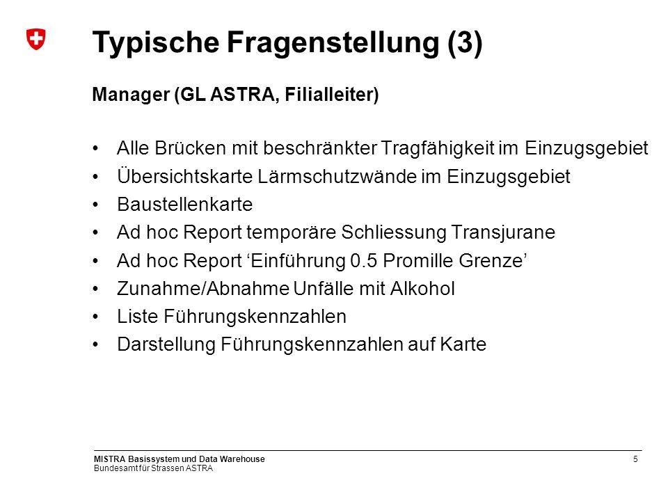 Bundesamt für Strassen ASTRA MISTRA Basissystem und Data Warehouse5 Manager (GL ASTRA, Filialleiter) Alle Brücken mit beschränkter Tragfähigkeit im Ei