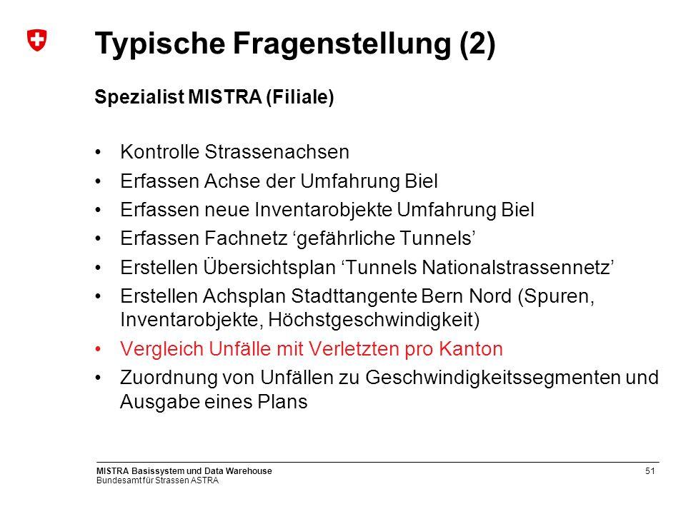 Bundesamt für Strassen ASTRA MISTRA Basissystem und Data Warehouse51 Spezialist MISTRA (Filiale) Kontrolle Strassenachsen Erfassen Achse der Umfahrung