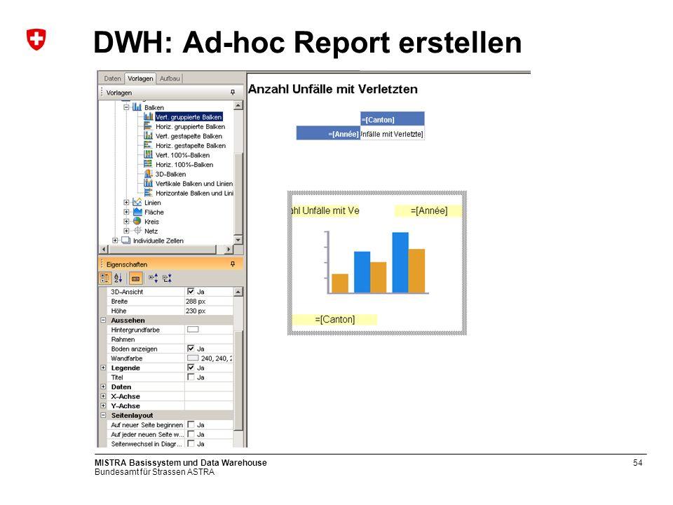 Bundesamt für Strassen ASTRA MISTRA Basissystem und Data Warehouse54 DWH: Ad-hoc Report erstellen