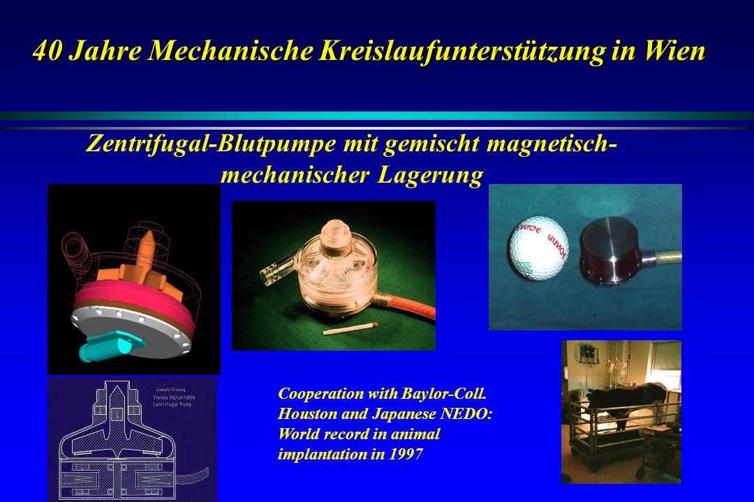 40 Jahre Mechanische Kreislaufunterstützung in Wien Cooperation with Baylor-Coll. Houston and Japanese NEDO: World record in animal implantation in 19
