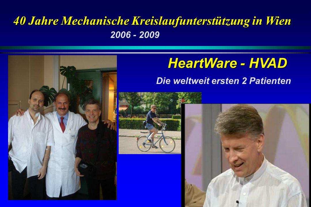 HeartWare - HVAD 40 Jahre Mechanische Kreislaufunterstützung in Wien Die weltweit ersten 2 Patienten 2006 - 2009