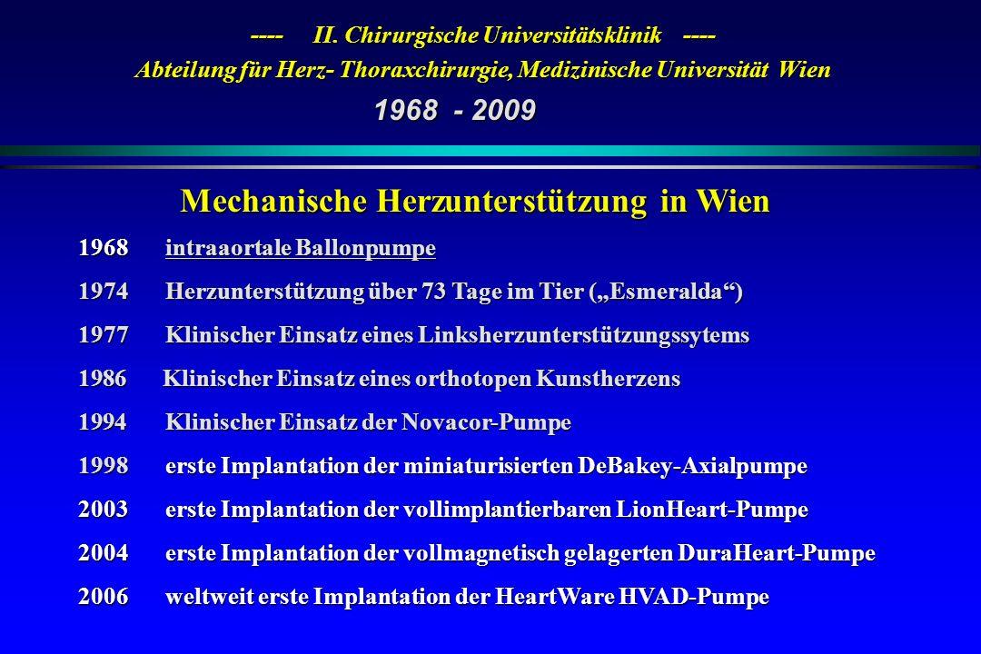 ---- II. Chirurgische Universitätsklinik ---- Abteilung für Herz- Thoraxchirurgie, Medizinische Universität Wien Mechanische Herzunterstützung in Wien
