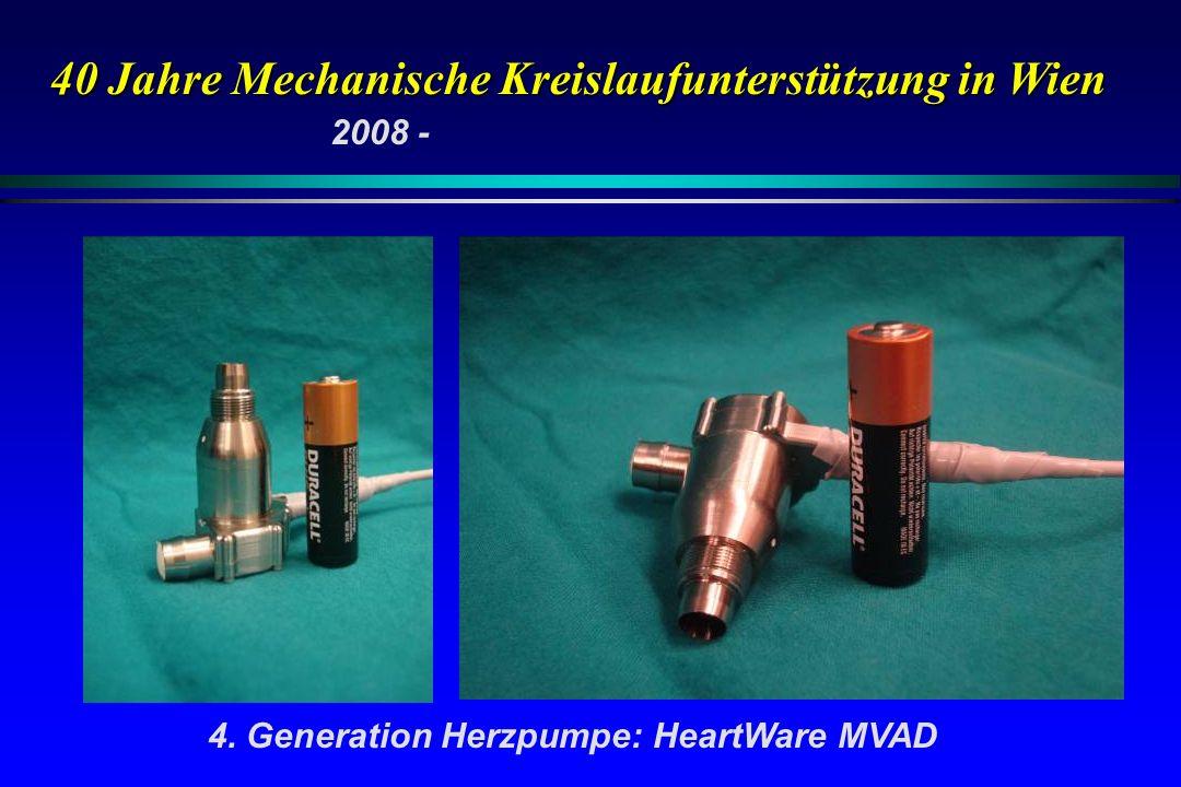 40 Jahre Mechanische Kreislaufunterstützung in Wien 4. Generation Herzpumpe: HeartWare MVAD 2008 -