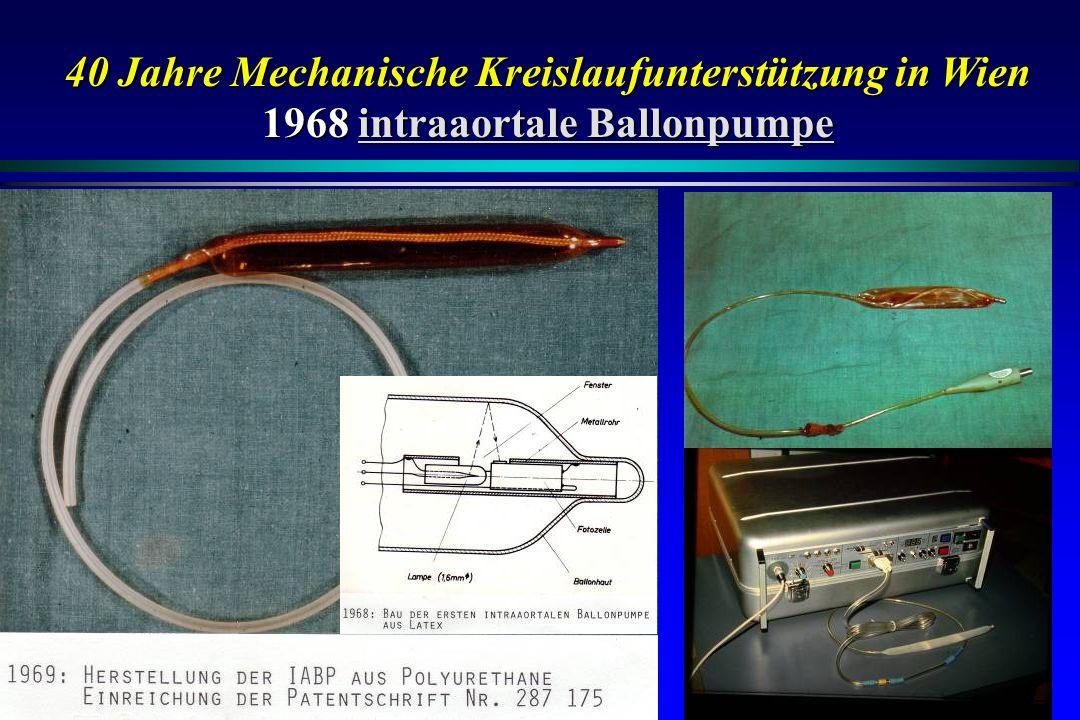 40 Jahre Mechanische Kreislaufunterstützung in Wien 1968intraaortale Ballonpumpe