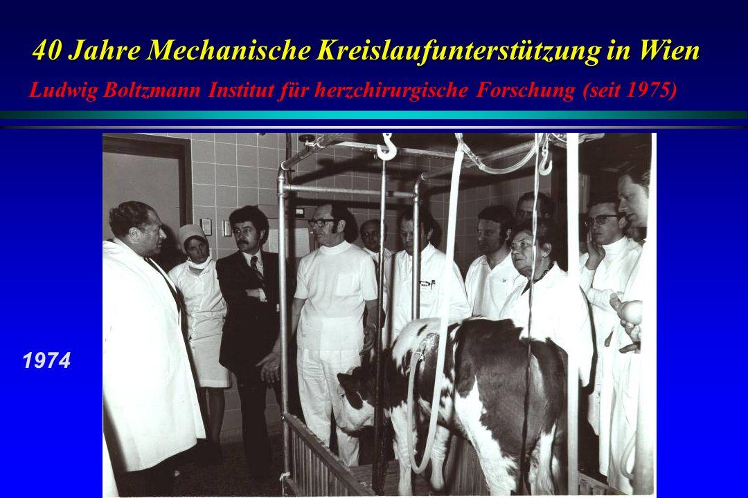 40 Jahre Mechanische Kreislaufunterstützung in Wien Ludwig Boltzmann Institut für herzchirurgische Forschung (seit 1975) 1974