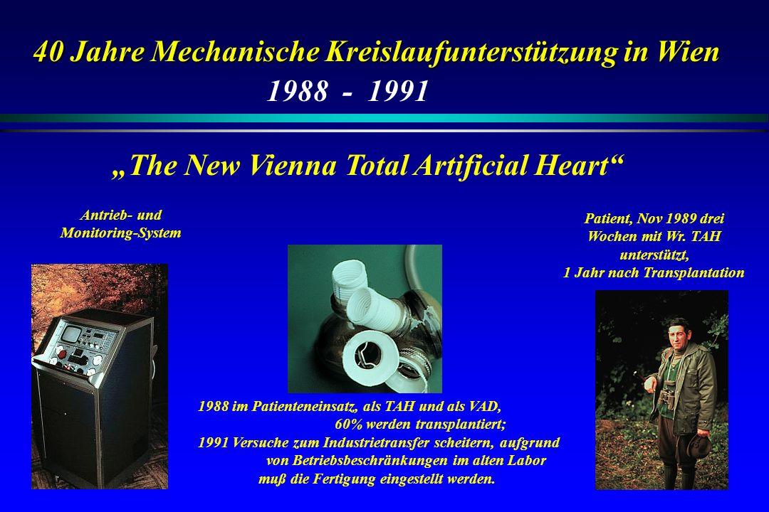 40 Jahre Mechanische Kreislaufunterstützung in Wien The New Vienna Total Artificial Heart 1988 - 1991 1988 im Patienteneinsatz, als TAH und als VAD, 6