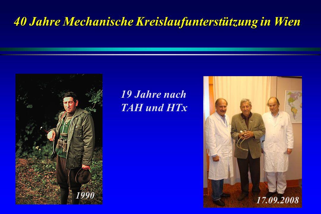 40 Jahre Mechanische Kreislaufunterstützung in Wien 17.09.2008 19 Jahre nach TAH und HTx 1990