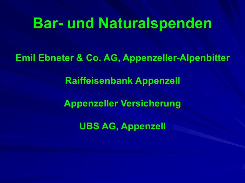 Bar- und Naturalspenden Emil Ebneter & Co. AG, Appenzeller-Alpenbitter Raiffeisenbank Appenzell Appenzeller Versicherung UBS AG, Appenzell