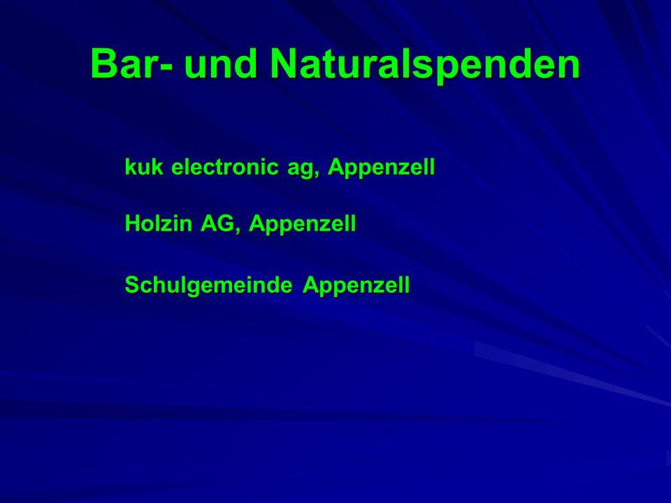 Bar- und Naturalspenden kuk electronic ag, Appenzell Holzin AG, Appenzell Schulgemeinde Appenzell