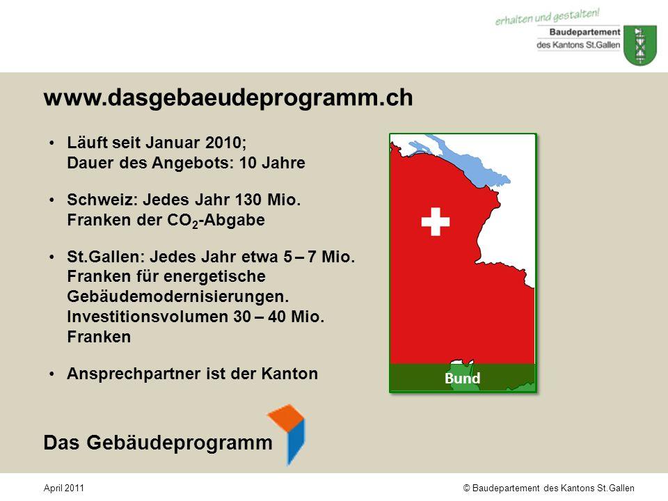 © Baudepartement des Kantons St.GallenApril 2011 www.dasgebaeudeprogramm.ch Läuft seit Januar 2010; Dauer des Angebots: 10 Jahre Schweiz: Jedes Jahr 1