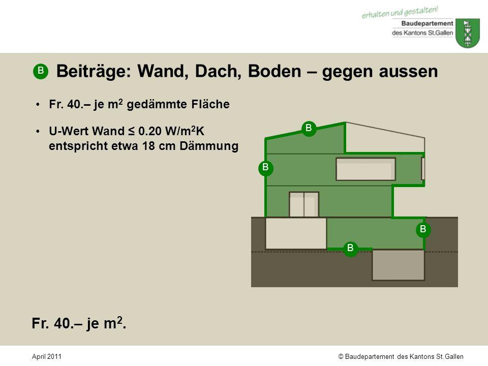 © Baudepartement des Kantons St.GallenApril 2011 Beiträge: Wand, Dach, Boden – gegen aussen Fr. 40.– je m 2 gedämmte Fläche U-Wert Wand 0.20 W/m 2 K e