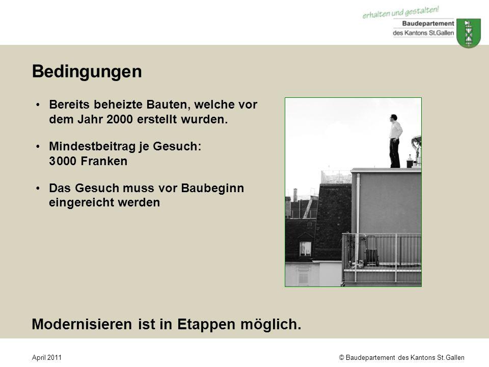 © Baudepartement des Kantons St.GallenApril 2011 Bedingungen Bereits beheizte Bauten, welche vor dem Jahr 2000 erstellt wurden. Mindestbeitrag je Gesu