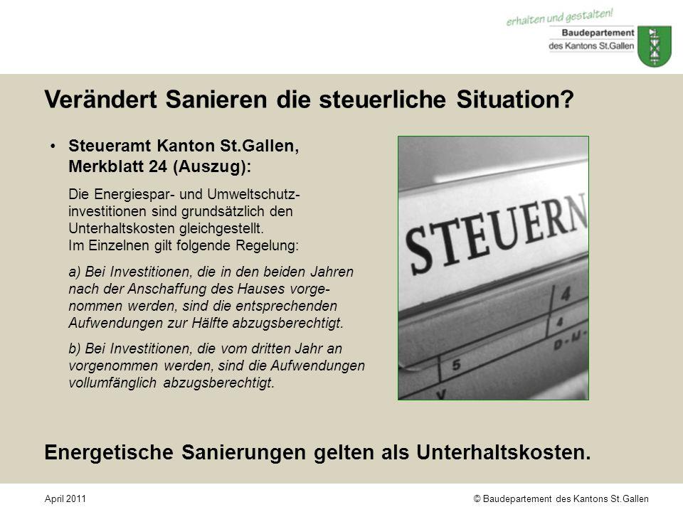 © Baudepartement des Kantons St.GallenApril 2011 Verändert Sanieren die steuerliche Situation? Steueramt Kanton St.Gallen, Merkblatt 24 (Auszug): Die