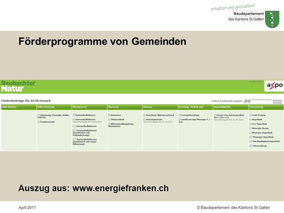 © Baudepartement des Kantons St.GallenApril 2011 Förderprogramme von Gemeinden Auszug aus: www.energiefranken.ch