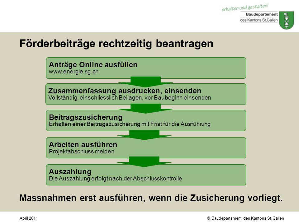 © Baudepartement des Kantons St.GallenApril 2011 Förderbeiträge rechtzeitig beantragen Anträge Online ausfüllen www.energie.sg.ch Zusammenfassung ausd