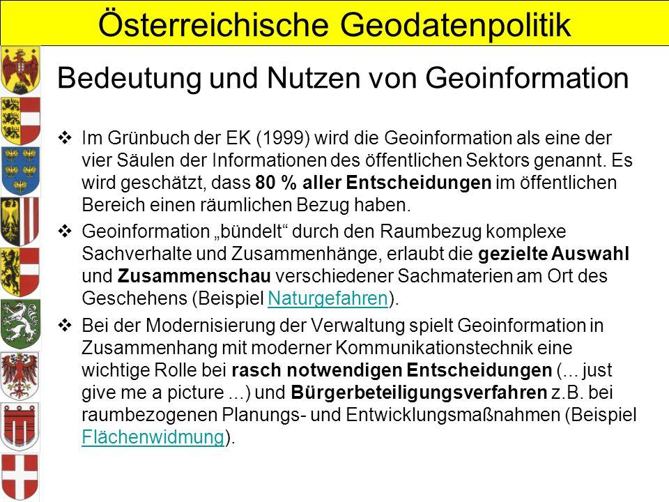 Österreichische Geodatenpolitik Bedeutung und Nutzen von Geoinformation Im Grünbuch der EK (1999) wird die Geoinformation als eine der vier Säulen der Informationen des öffentlichen Sektors genannt.