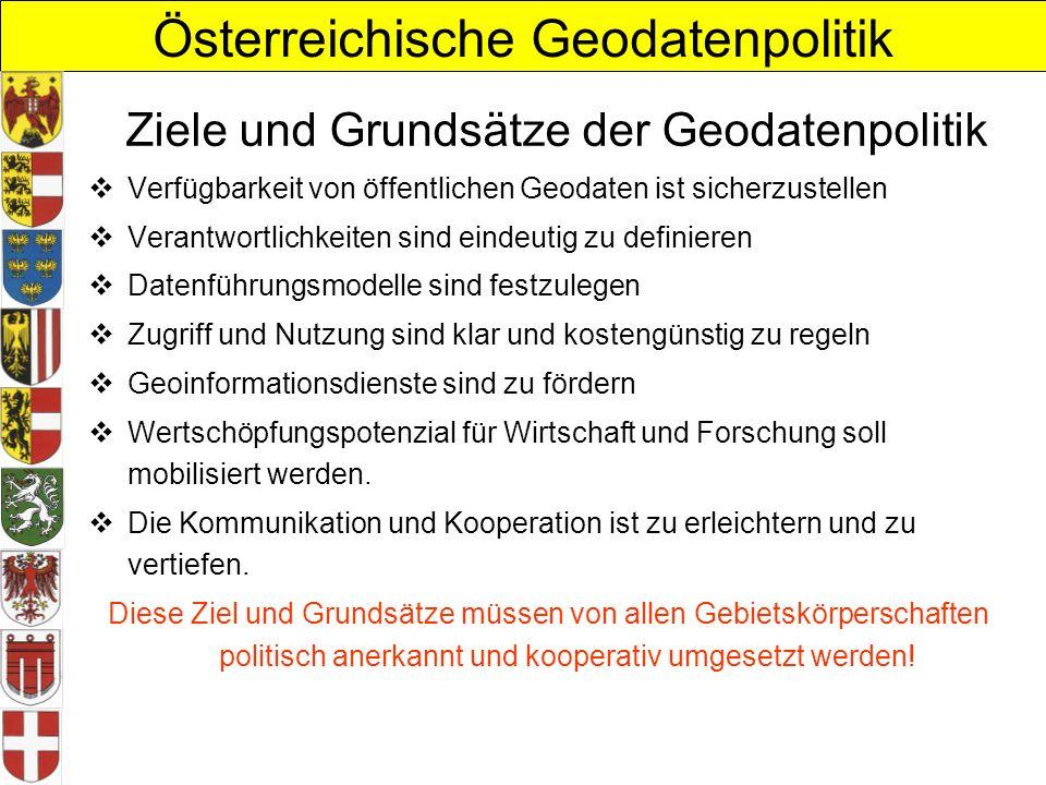 Österreichische Geodatenpolitik Ziele und Grundsätze der Geodatenpolitik Verfügbarkeit von öffentlichen Geodaten ist sicherzustellen Verantwortlichkei
